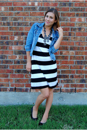 blue Forever 21 jacket - white gianni bini dress - black Gap shoes