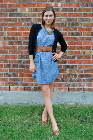 blue modcloth dress - black Nordstrom cardigan - brown Agaci belt - brown payles