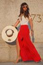 Red-maxi-skirt-bcbg-skirt-zara-blouse-nude-pump-christian-louboutin-pumps