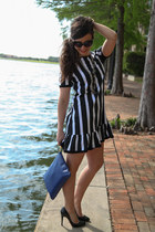 black dress asos dress - blue clutch GiGi New York bag