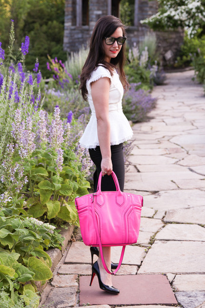 hot pink satchel milly bag - black pencil skirt Zara skirt