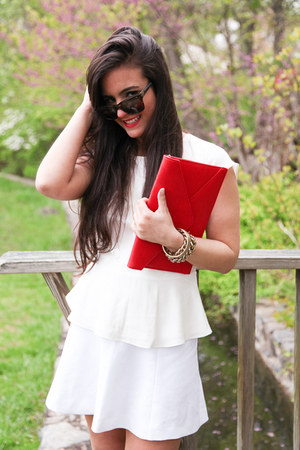 white necklace CWonder necklace - red clutch Angela & Roi bag