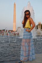 yellow tank Alice  Olivia top - light blue maxi skirt asoscom skirt