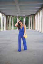 blue jumpsuit Windsor Store jumper - gold platform Nasty Gal heels