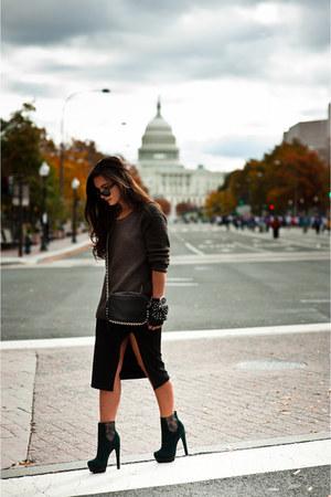 black pencil skirt Forever 21 skirt - dark green platform Rachel Zoe boots