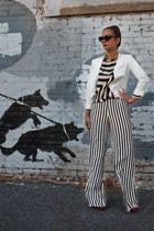 striped blouse Diane Von Furstenberg top - white white blazer Aqua blazer