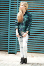 Light-blue-korean-style-jeans-dark-green-korean-style-blouse