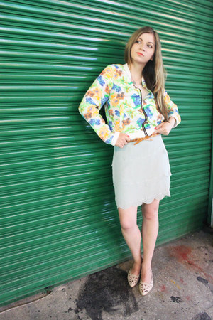 aquamarine silk korean brand skirt - gold silk korean brand jacket