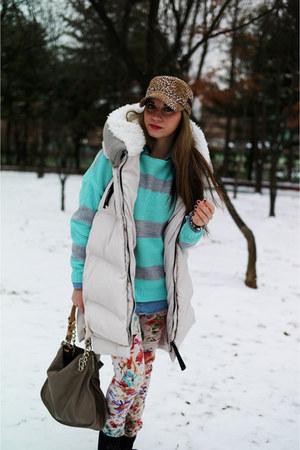 floral denim Zara pants - down vest FashionToAny vest