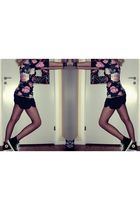 black asos blouse - gray Monki shorts - black All star shoes