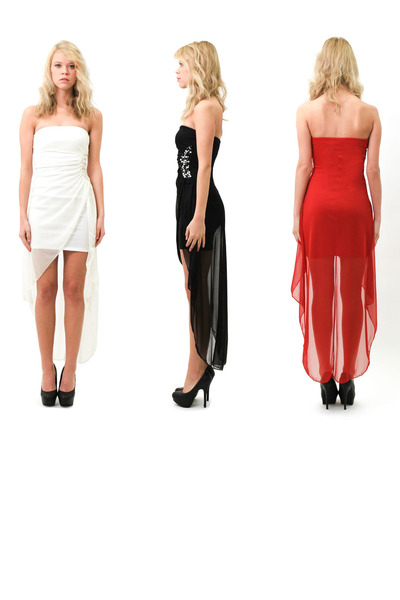 white high-low dress - black high-low dress - red high-low dress