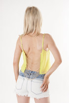 yellow crop top DivaNYcom top - sky blue denim shorts DivaNYcom shorts