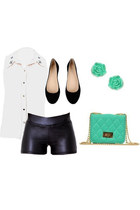 black shorts - ivory blouse