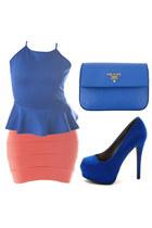 coral mini skirt - blue peplum top