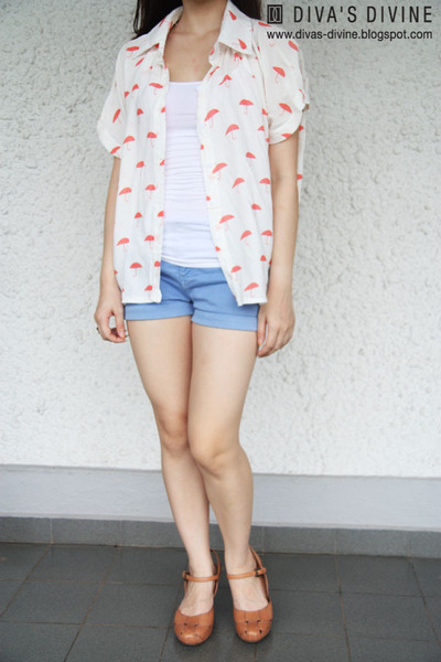 salmon Divas Divine shirt - sky blue denim shorts Zara shorts - white cotton on
