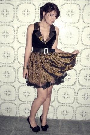 bronze dress - black dress