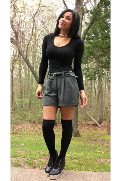 c455d0e711c charcoal gray Charlotte Russe shorts - black knee high socks Ebay socks -  black