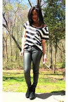 black leather pants - white striped boxy t-shirt - silver dizzycoutureetsycom ac