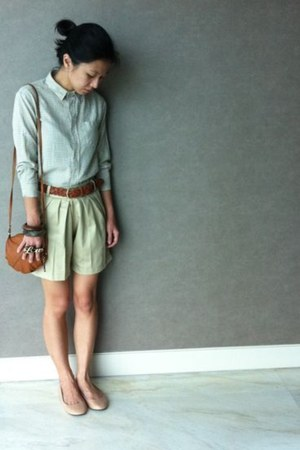 dark brown missmegalocom accessories - tawny H&M bag - beige Ruby flats