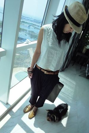 beige missmegalocom top - orange vintage belt belt - black black suit pants pant