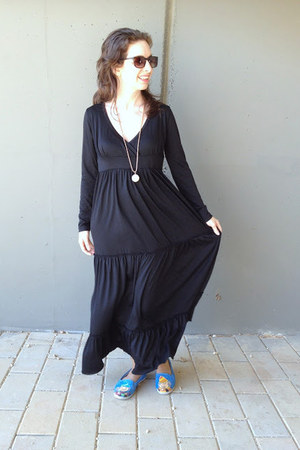 black second hand dress - Walk Slacks shoes - second hand necklace