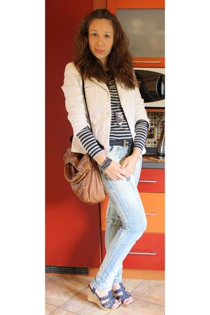 white Zara Basic jacket - gray Vero Moda blouse - brown New Yorker purse - blue