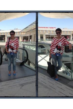 red cute Koton t-shirt - sky blue boyfriend jeans Zara jeans