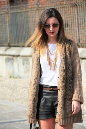 H&M sunglasses - YSL bag - Jil Sander t-shirt - Zara cardigan