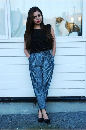 black DollsMaison top - silver DollsMaison pants - black DollsMaison heels