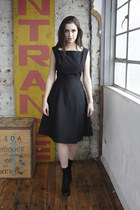 black 1950s full DollsMaison dress - black cotton ankle Topshop socks