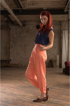 coral tapered DollsMaison pants - navy silk DollsMaison vest