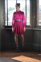 hot pink reworked dress DollsMaison dress - blue leather DollsMaison belt