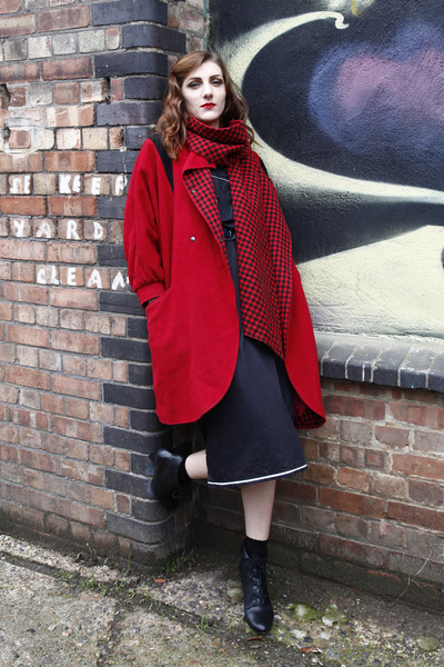 red DollsMaison coat - black Office boots - black DollsMaison dress
