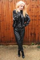 black cotton Primark socks - black leather vintage DollsMaison pants