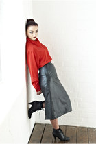 red cowl neck DollsMaison blouse - black leather lace up Office boots