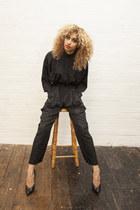 black tonal print DollsMaison romper - black vintage leather Brenda Zaro heels