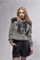 heather gray DollsMaison jumper - black leather vintage DollsMaison shorts