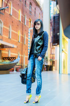 Givenchy bag - denim Zara jeans - patent leather H&M jacket