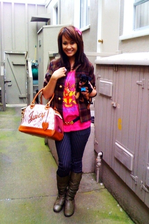 Juicy Couture purse - second hand jacket - H&M pants - boots