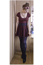 Maroon-h-m-dress-crimson-topshop-skirt-black-new-look-pumps