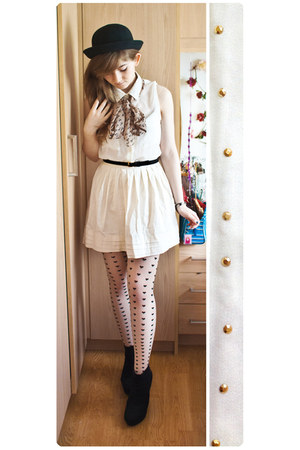 black asos hat - white H&M tights - off white Primark skirt