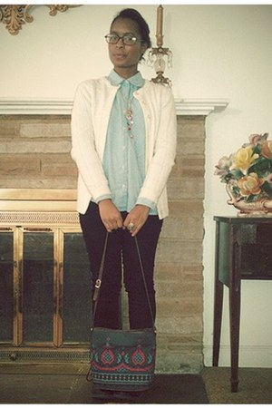 Lands End blouse - American Rag boots - BDG jeans - acrylic cardigan