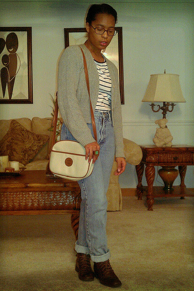 blue Guess jeans - dark brown St Johns Bay boots - off white espirit purse