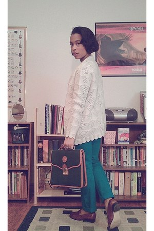 teal thrifted City streets jeans - dark green vintage Dooney & Bourke bag