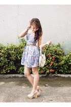 sky blue Supersale Bazaar dress - ivory Gucci bag - beige Dorothy Perkins belt