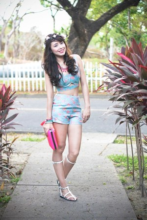 sky blue Forever 21 top - white Vaintage shoes - hot pink Zara bag
