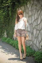 ivory get laud top - eggshell LAMB shoes - light brown Fendi bag