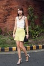 light yellow Vetus Shop skirt - black Celine bag - white pull&bear top
