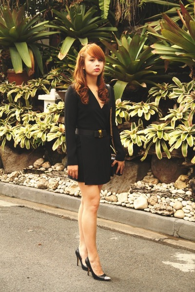 black Zara dress - black Chanel bag - black Chinese Laundry heels