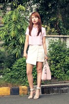 light pink Zara top - light pink Givenchy bag - white Mango skirt